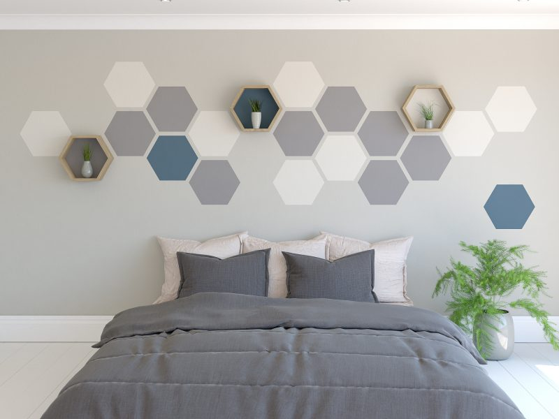 hexagon-painted-feature-wall