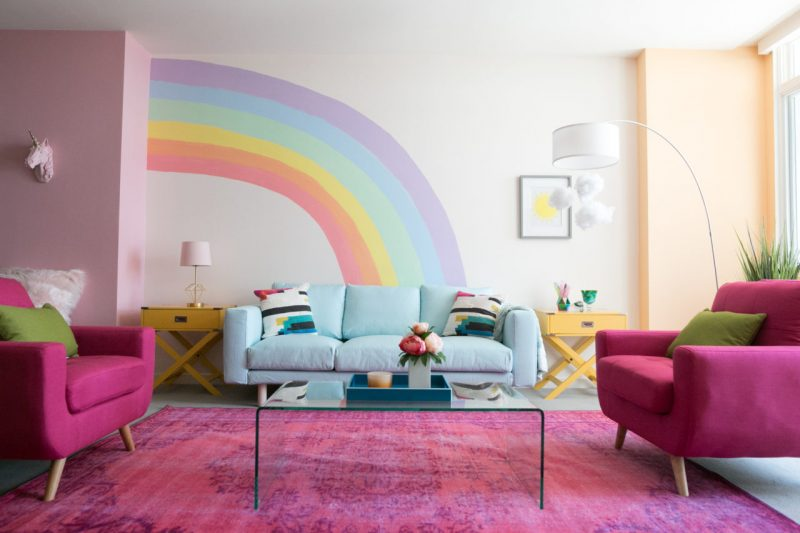 rainbow-painted-feature-wall