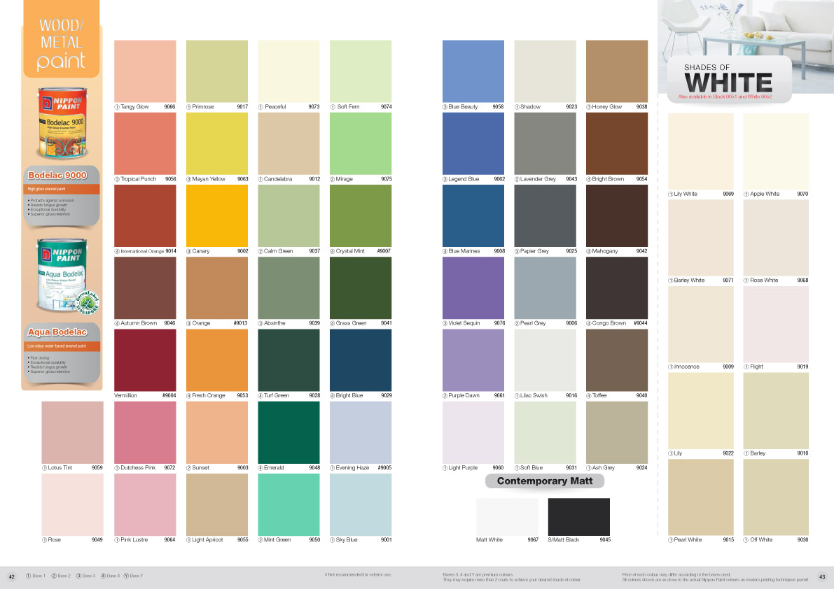 Nippon Paint Aqua Bodelac Colour Chart Nippon Paint Singapore