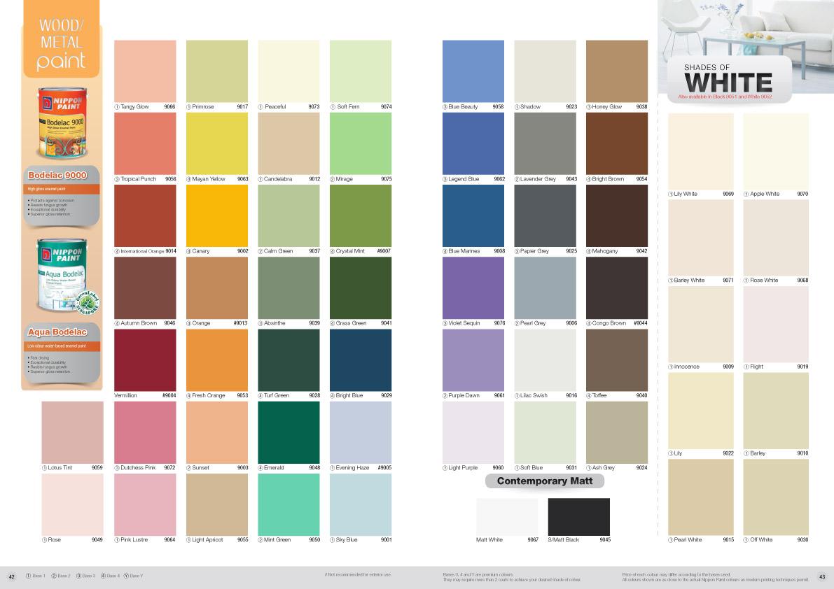 Nippon paint aqua bodelac colour chart nippon paint - Crown exterior wood paint colours ...