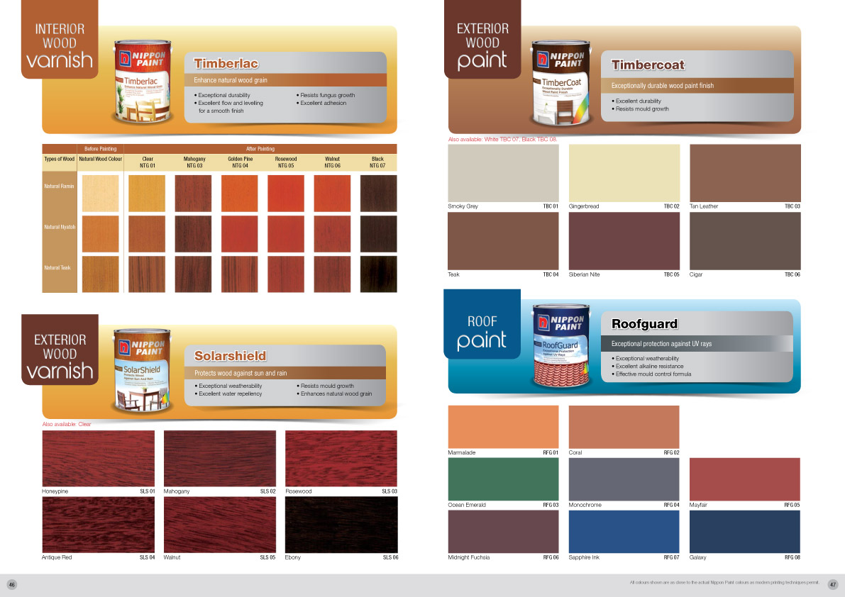 Nippon paint roofguard nippon paint singapore for Exterior paint for wood colours