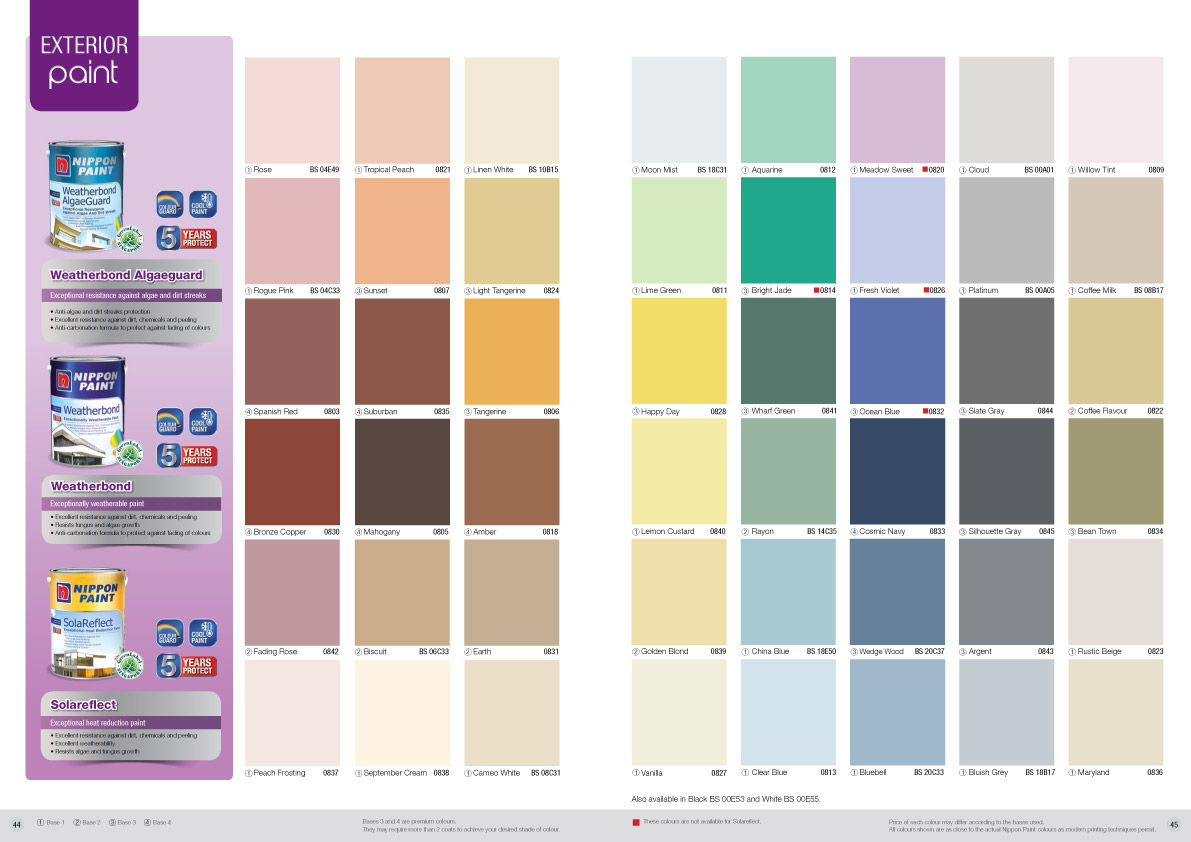 Nippon Paint Weatherbond Colour Chart Nippon Paint