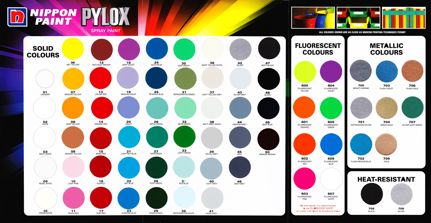 Spray Paint | Pylox Spray Paint | Spray Paint Colour Chart ...
